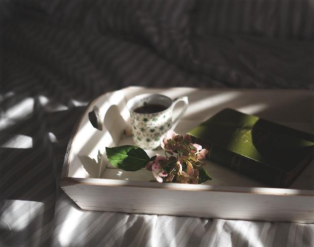 Grüner Tee mit Buch und Blatt