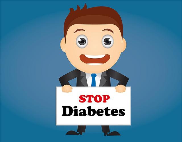 Mann mit Schild gegen Diabetes