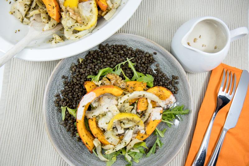 Herbstlicher Linsensalat mit Röst-Kürbis und Walnussdressing ala Marley Spoon - Kochbox Selbsttest (Teil 1 von 2)