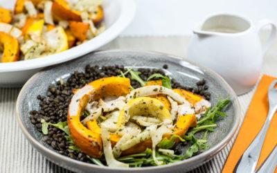 Herbstlicher Linsensalat mit Röst-Kürbis und Walnussdressing ala Marley Spoon – Kochbox Selbsttest (Teil 1 von 2)